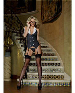 3 Pc Working Late Pinstripe Knit Vest Garter, Thong & Plastic Glasses Black O-s