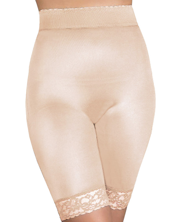 Rago Shapewear Long Leg Shaper W-gripper Stretch Lace Bottom Beige Lg