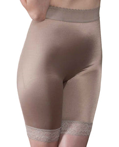 Rago Shapewear Long Leg Shaper W-gripper Stretch Lace Bottom Mocha 11x