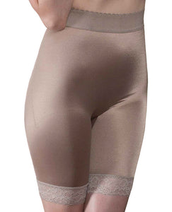 Rago Shapewear Long Leg Shaper W-gripper Stretch Lace Bottom Mocha 5x