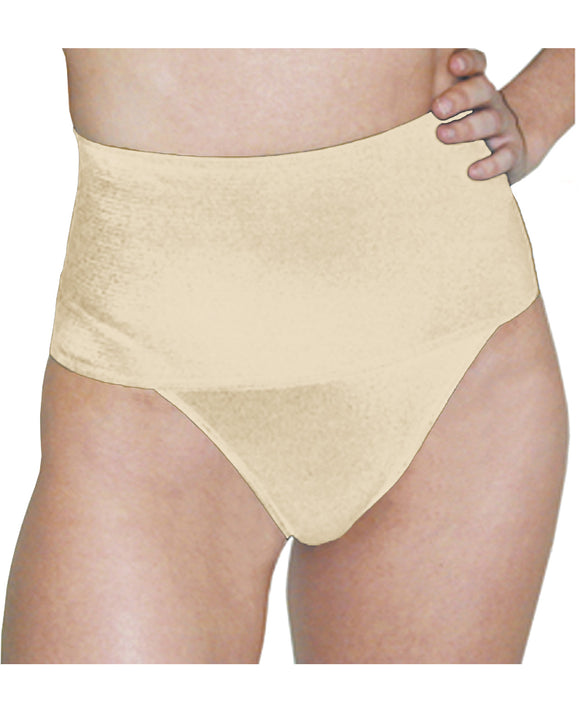 Rago Shapewear Soft Wide Band Thong Shaper Beige Lg