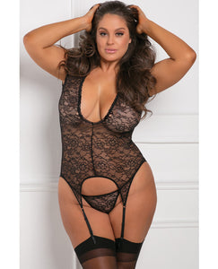 Rene Rofe Finest Of All Garter Chemise Black 3x-4x