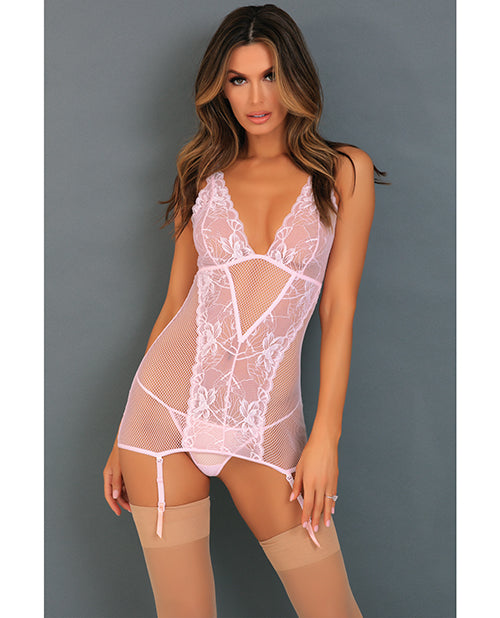 Rene Rofe Deconstruct Me Chemise & G-string Pink M-l