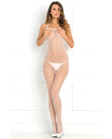 Rene Rofe Halter Fishnet Bodystocking White O-s