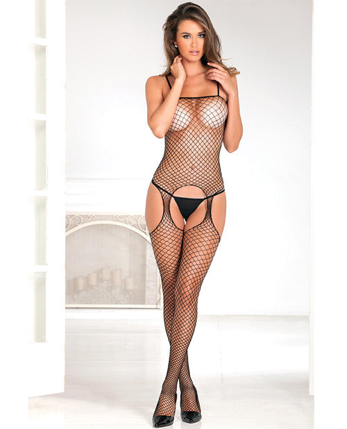 Rene Rofe Industrial Net Suspender Bodystocking Black O-s