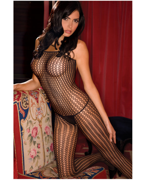 Rene Rofe Quarter Crochet Net Bodystocking Black O-s