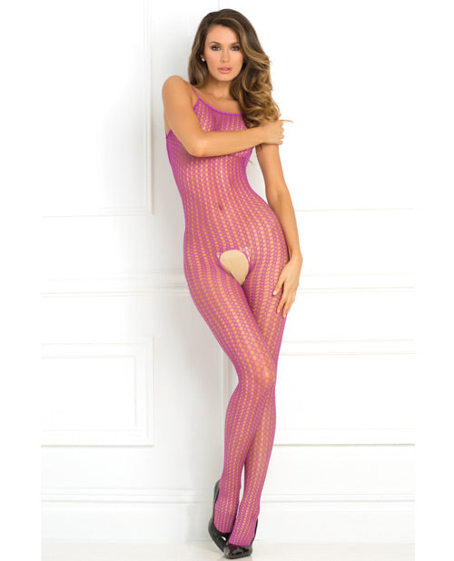 Rene Rofe Quarter Crochet Net Bodystocking Purple O-s