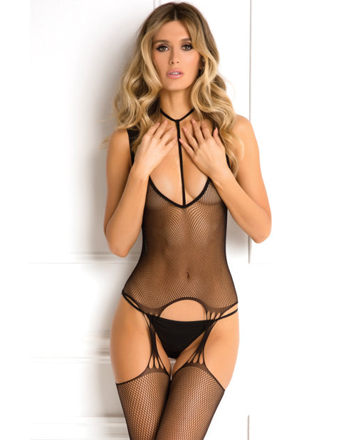 Rene Rofe Holy Plunge Harness Garter Dress Black O-s