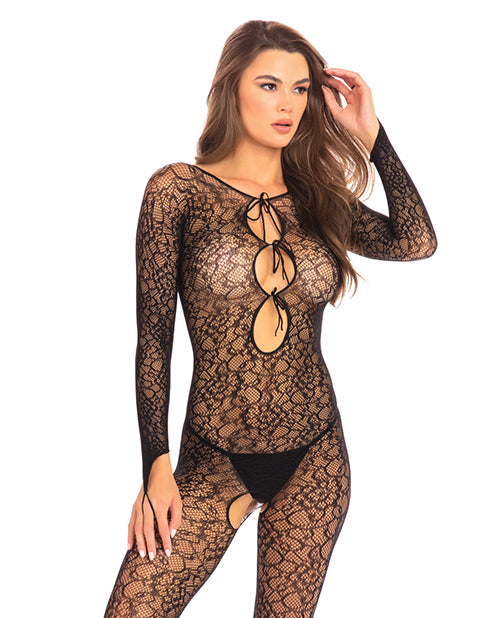 Rene Rofe Crotchless Lace Bodystocking Black M-l