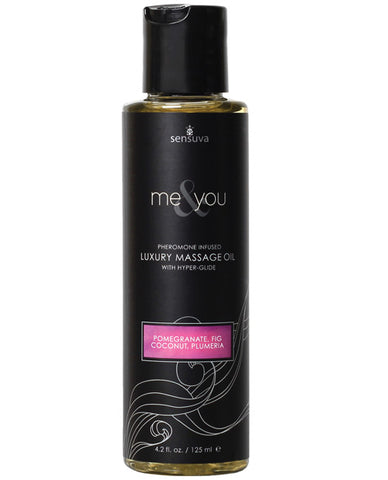 Sensuva Me & You Massage Oil - 4.2 Oz Pomegranate Fig-coconut Plumeria