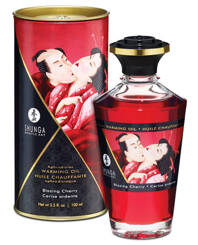 Shunga Warming Oil Blazing Cherry - 3.5 Oz.