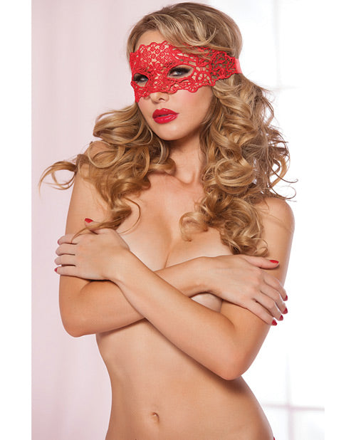 Lace Eye Mask W-satin Ribbon Ties Red O-s