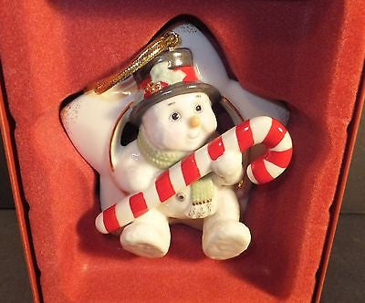 Lenox Sitting on A Star Snowman Christmas Ornament New In Box