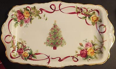 Royal Albert  Old Country Roses Christmas Tree Sandwich Tray New In Box