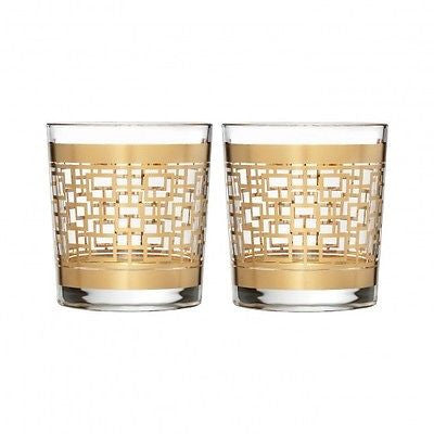Waterford Mad Men Edition Holloway Gold Patterned Double Old Fashioned Pair New