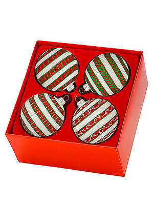 Waterford Marquis Holiday Stripes Ball Ornament Set of 4  New In Box