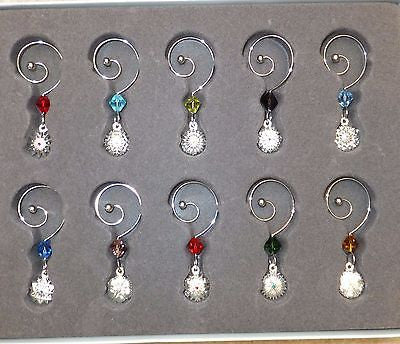 Waterford Crystal Snowflake Wishes Charms Hooks Set of 10