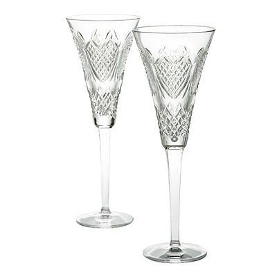 WATERFORD Crystal Wedding Heirloom Toasting Flute Pair New In Waterford Gift Box