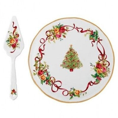 Royal Albert Old Country Roses Christmas Tree Low Cake Plate & Server New