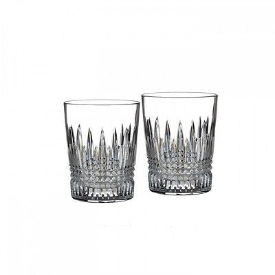 Waterford Crystal LISMORE DIAMOND TUMBLER PAIR (2) Double Old Fashioned New