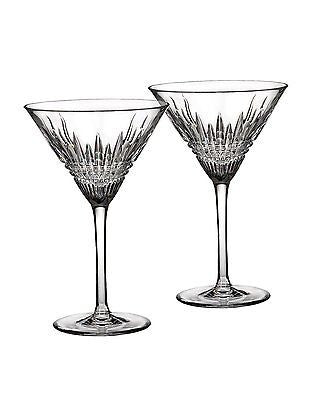 WATERFORD Crystal Lismore Diamond Martini Glasses Pair Two New # 161005