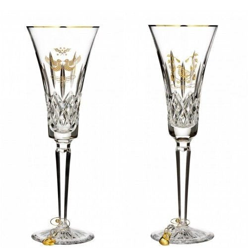 Waterford 2015 12 Days of Christmas Lismore Two Turtle Doves & Partridge Flutes