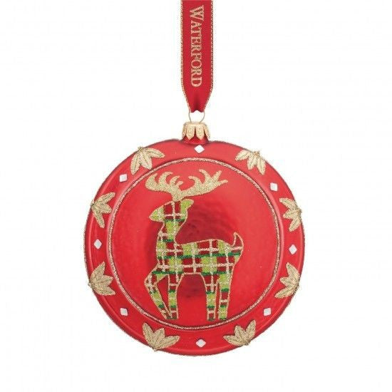 Waterford 2015 Holiday Heirlooms Nostalgic Red Reindeer Medallion Ornament New