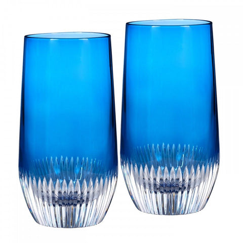 Waterford Mixology Argon Blue Hiball Glasses Pair BRAND New  #162828