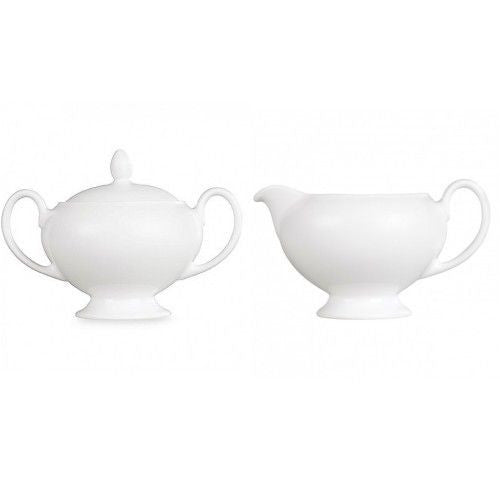 Wedgwood Dinnerware White Covered Sugar and Creamer Set (2) pc New with Tags