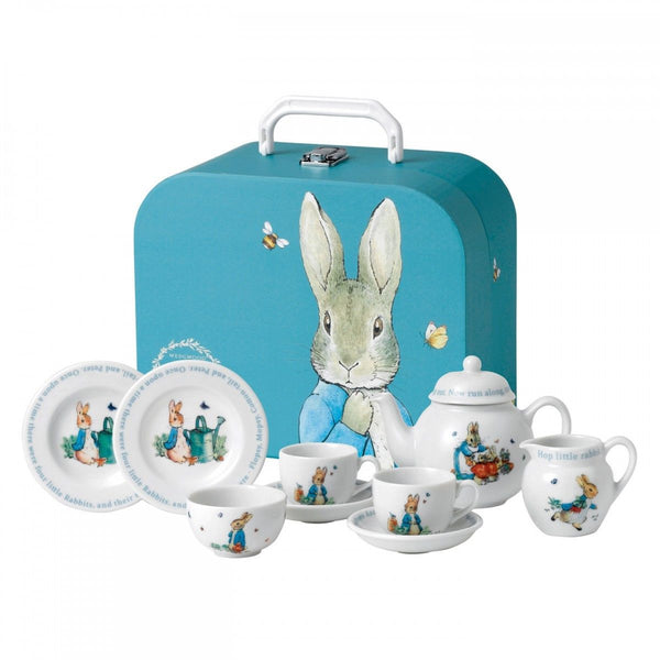 Wedgwood Peter Rabbit Children's Tea Set 8 piece blue suitcase Porceline New