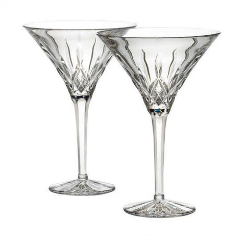 Waterford Crystal Lismore Tall Martini Glasses Pair New In Box