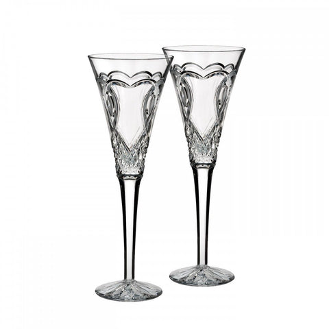 WATERFORD Crystal Wedding Toasting Flute Pair Hearts New