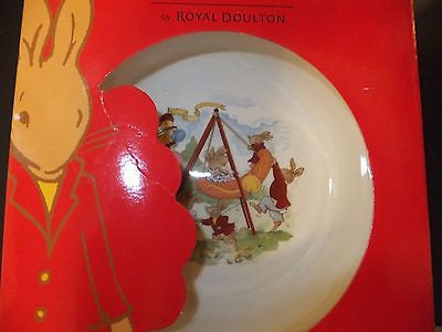 Royal Doulton Bunnykins Nursery Set Two Piece Baby Plate and Spoon New Swing