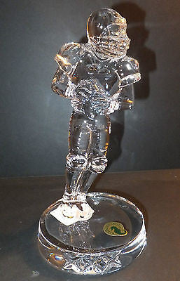 "Waterford Crystal Football Player 8"" Collectible Statue Figurine New In Box"