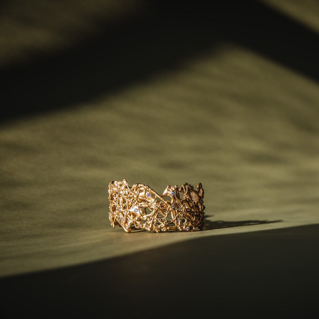 Komorebi 18ct Fairtrade Gold Cuff with Diamonds