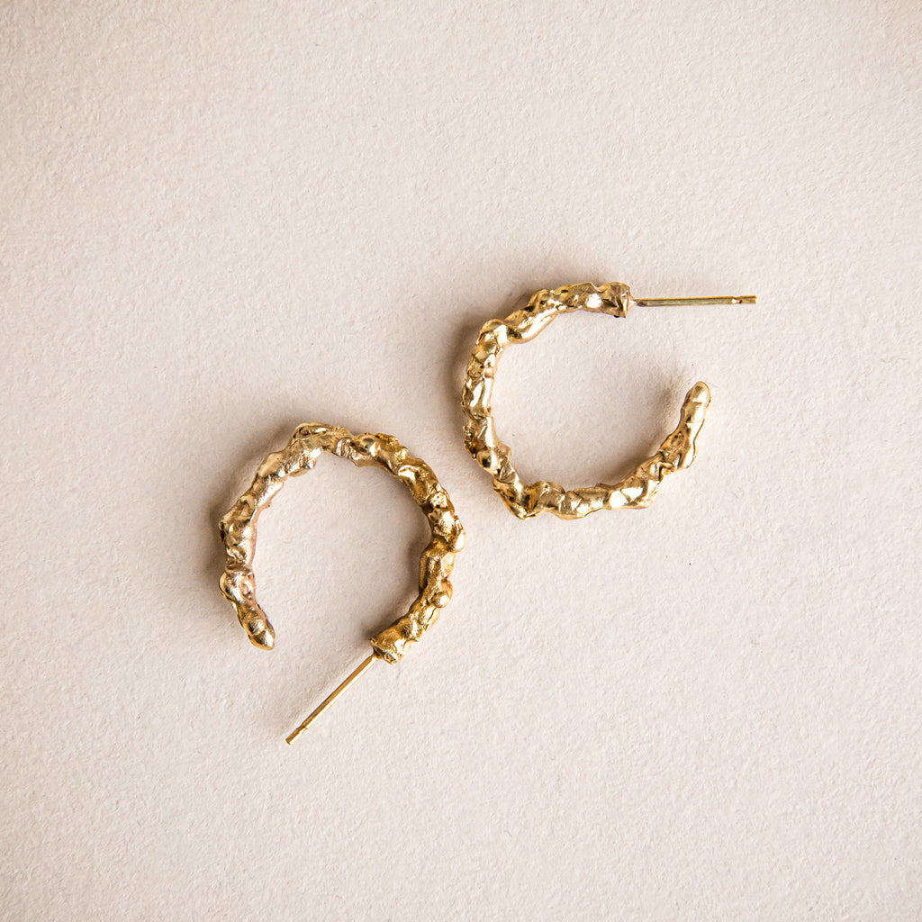 Textured, organic and sculptural 18ct yellow gold loop earrings