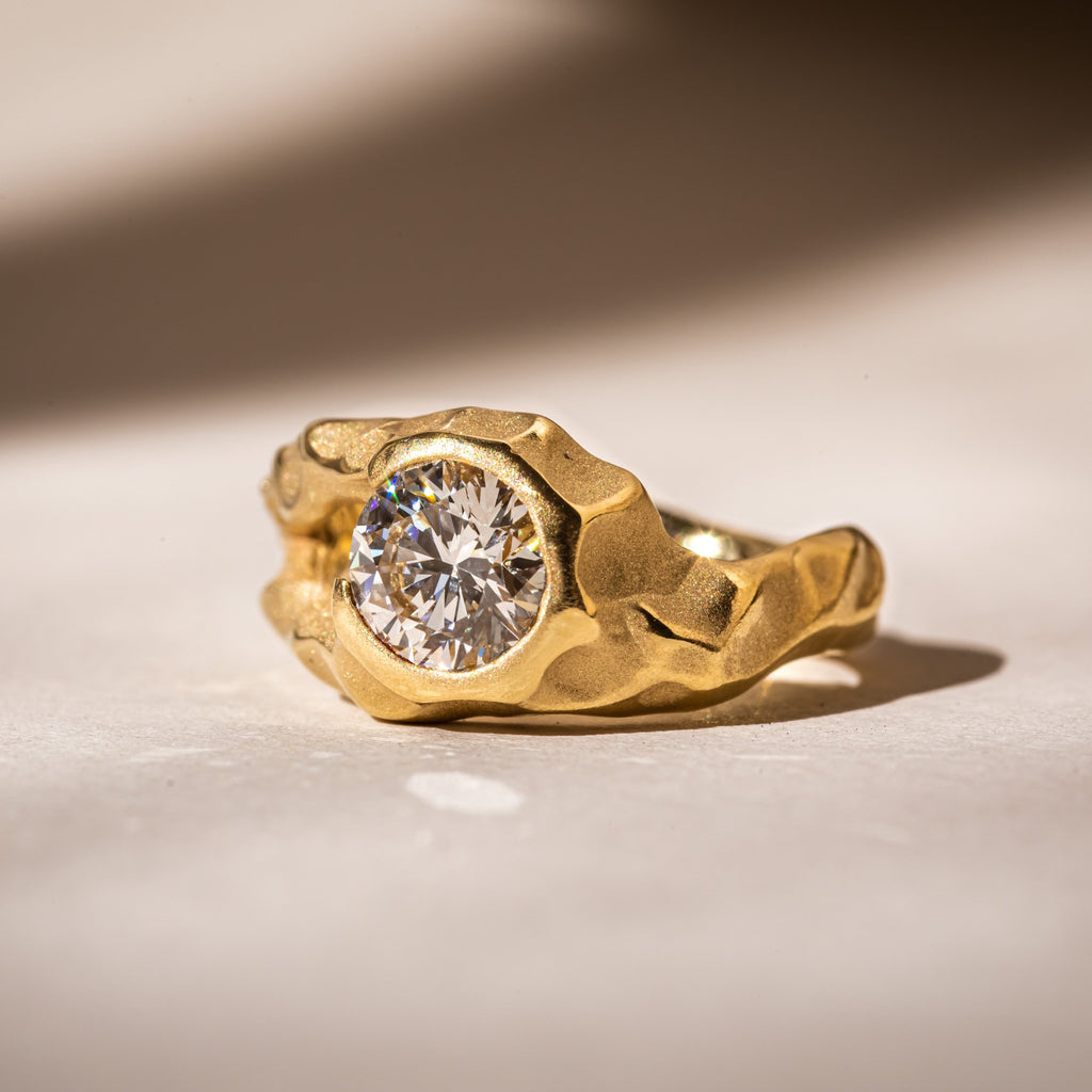 Ethically made, Fairtrade Gold and diamond engagement ring