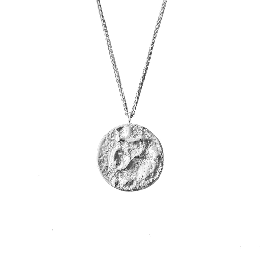 Recycled sterling sliver moon necklace