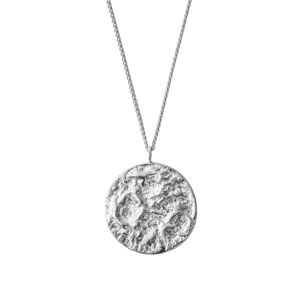 Handcrafted sterling silver moon necklace