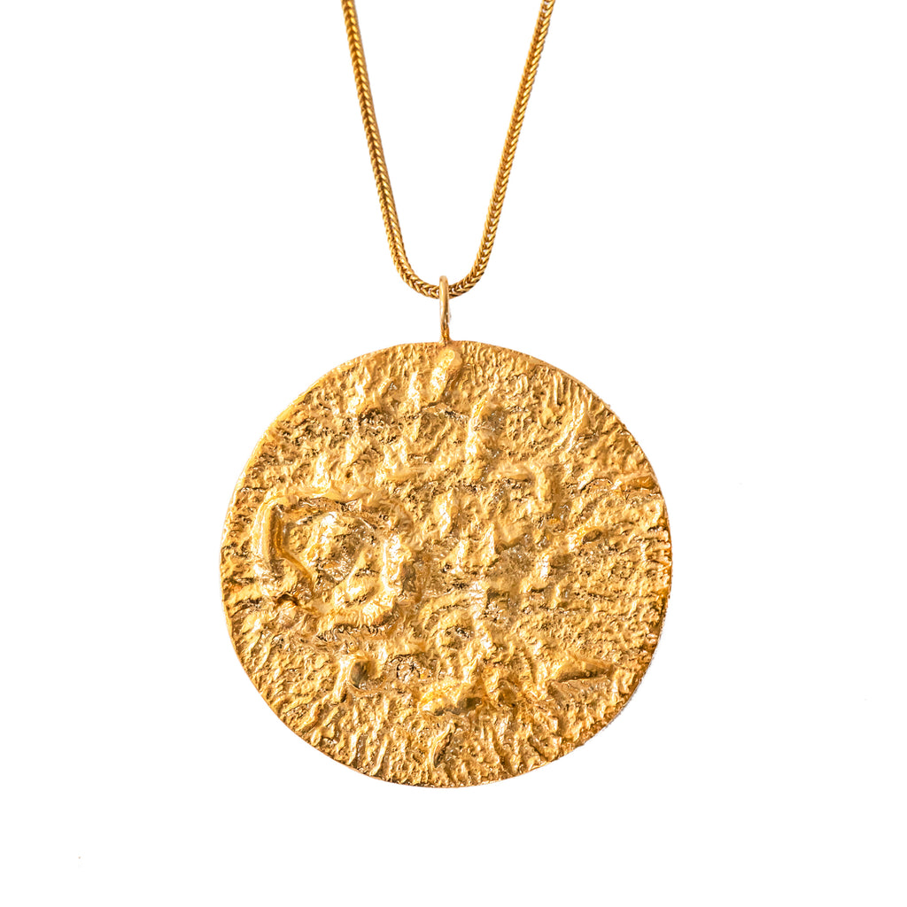 Large 18ct Fairtrade textured gold pendant, handcrafted in London