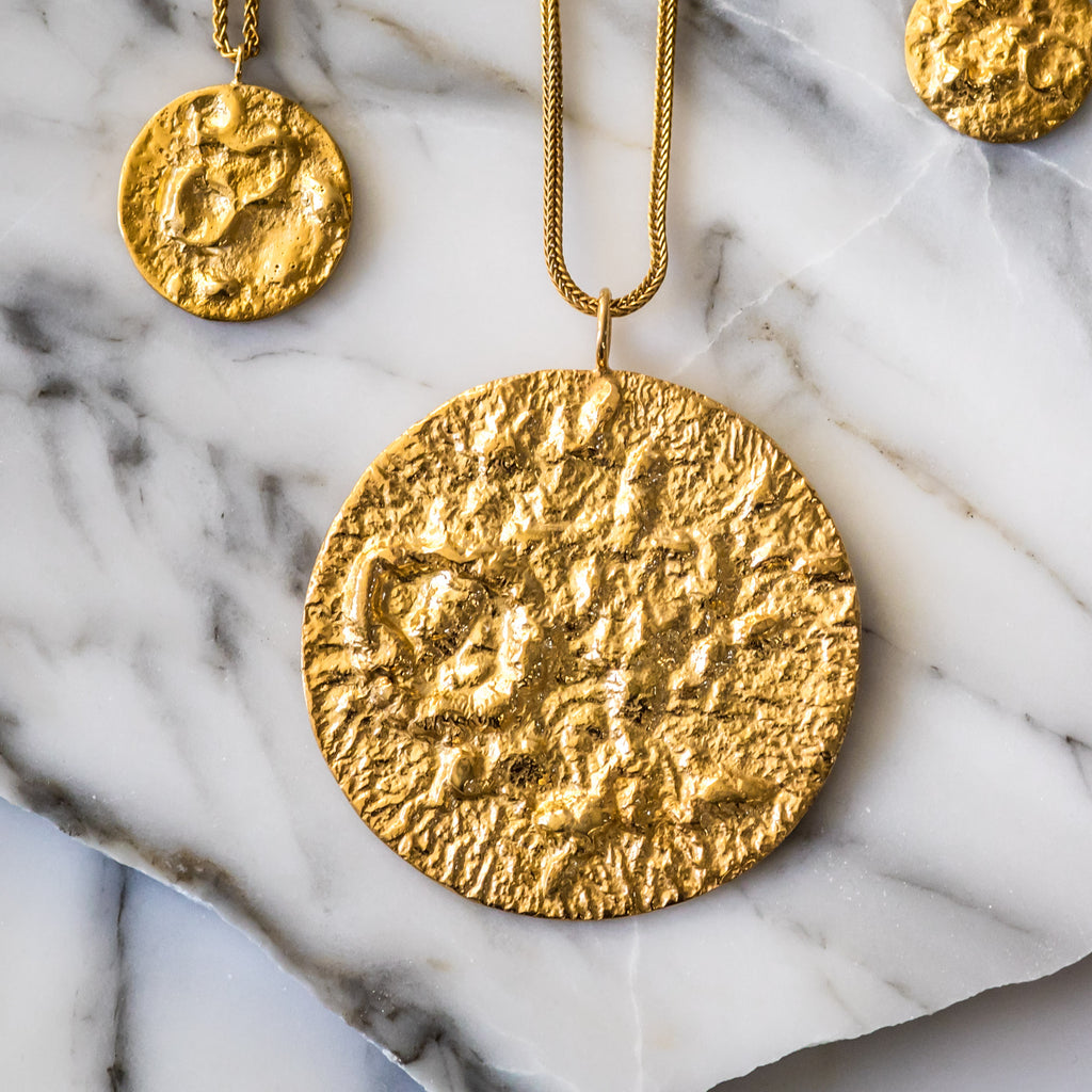 The Large Moon Pendant (22ct Gold Vermeil) Pascale James Jewellery