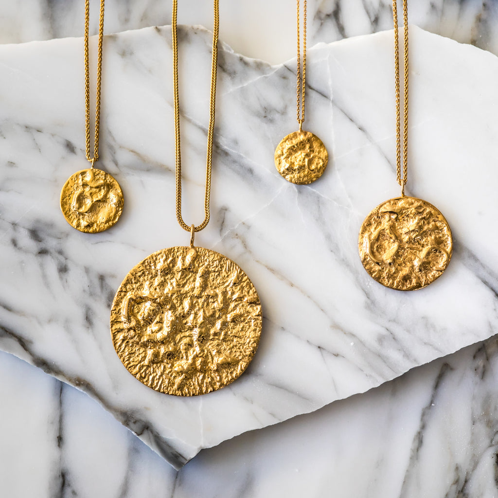 Fairtrade textured gold necklaces, ethically handcrafted in London