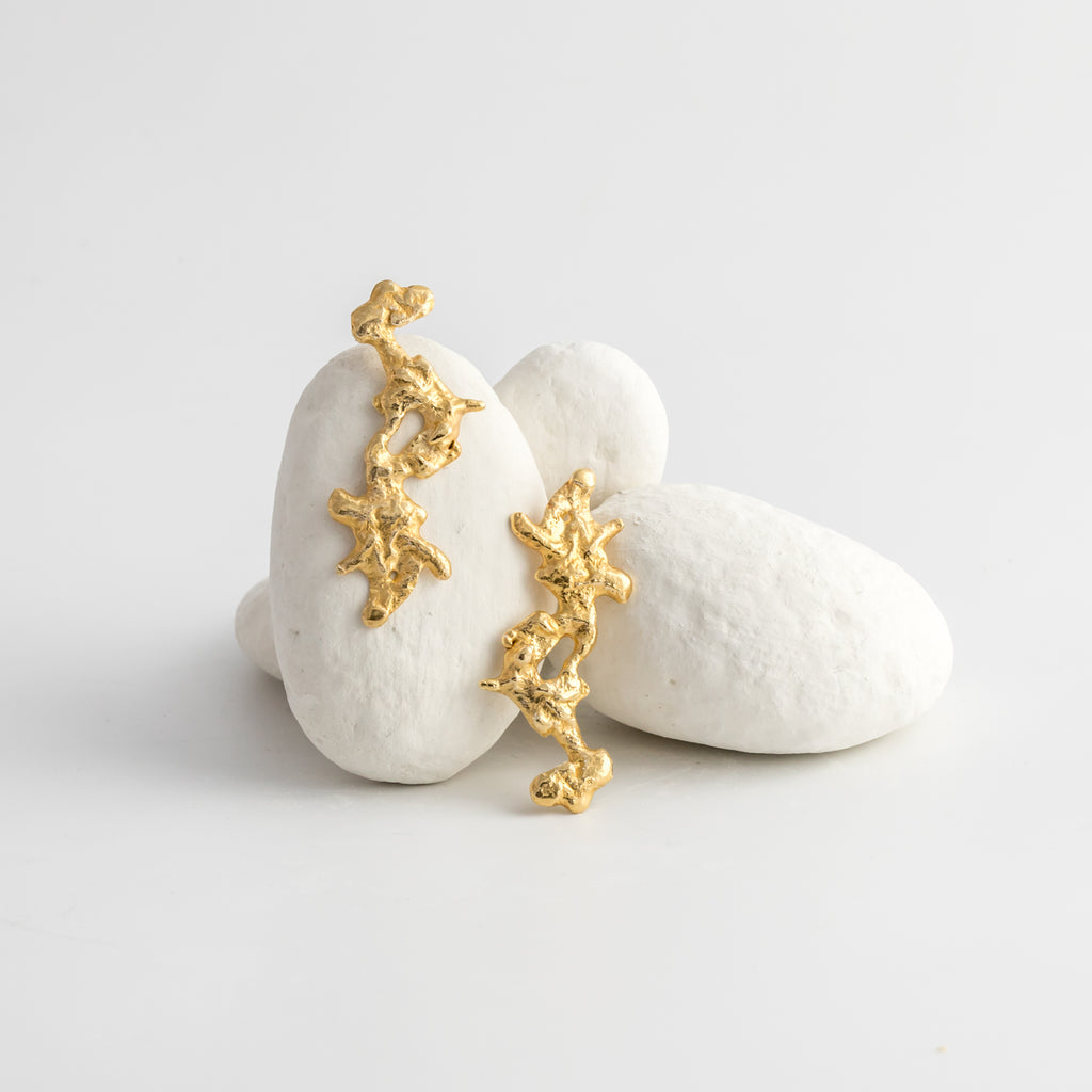 Molten Coral Drop Earrings 18ct Fairtrade Gold
