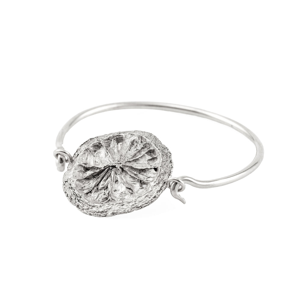 Lemon slice bangle recycled sterling silver