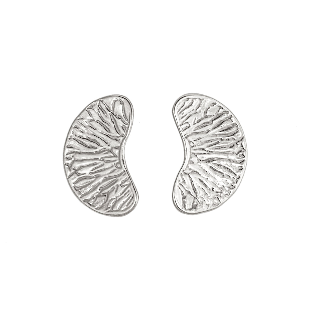 Orange Segment Earrings (Sterling Silver)