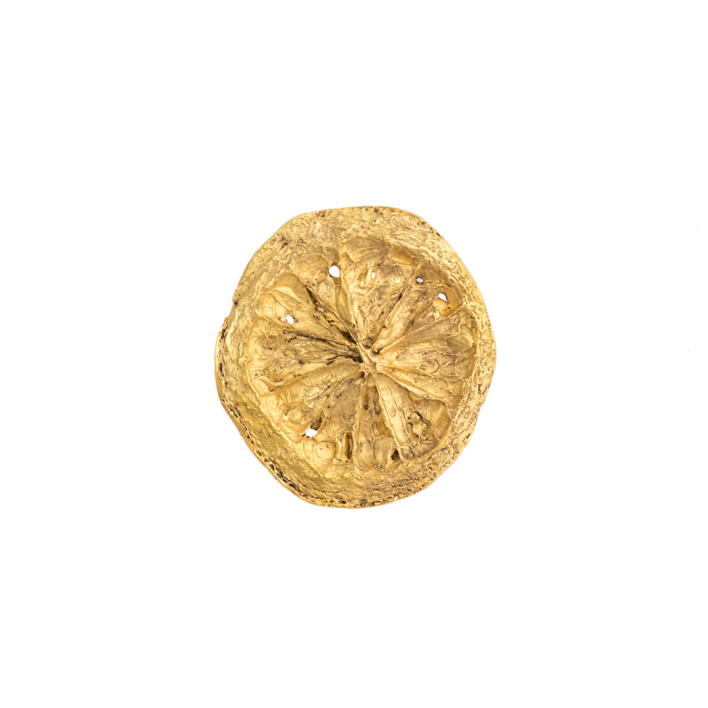 Small Lemon Slice Brooch, 22kt Gold Vermeil