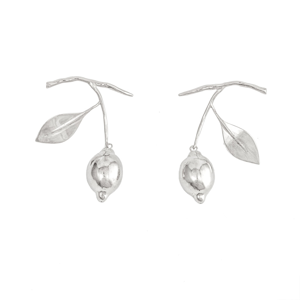 Hanging Lemon Earrings (Sterling Silver)