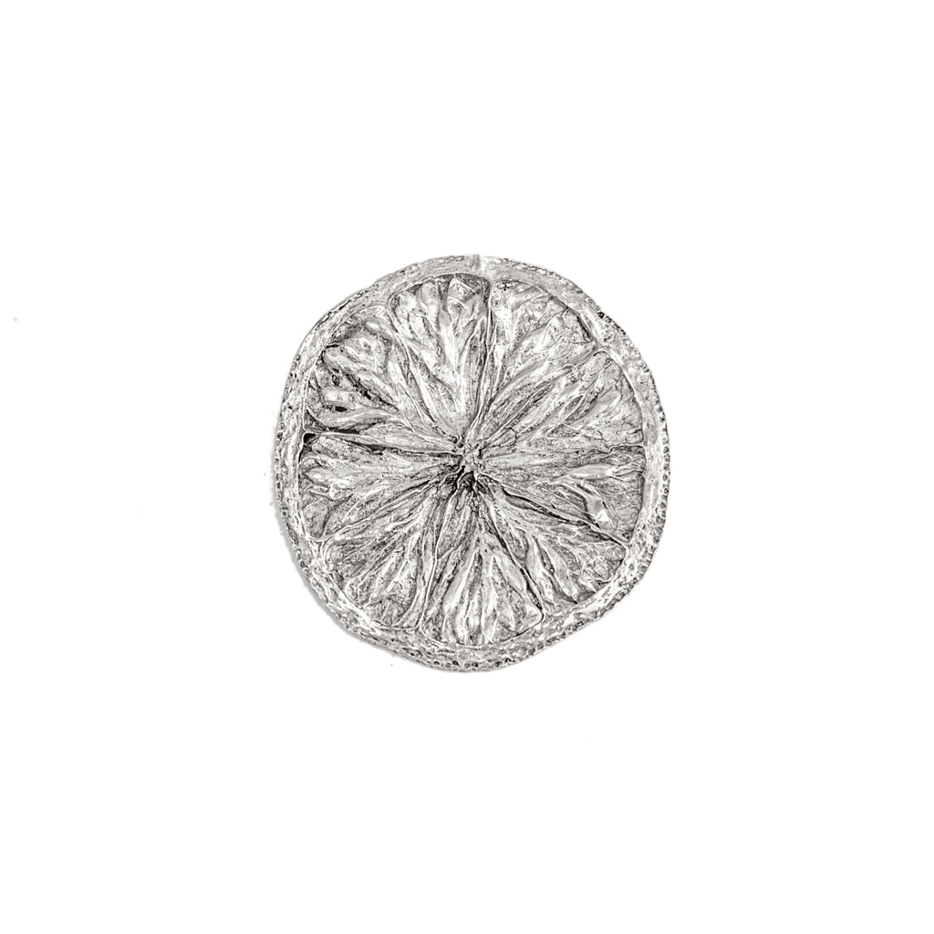 Large Lemon Slice Brooch (Sterling Silver)