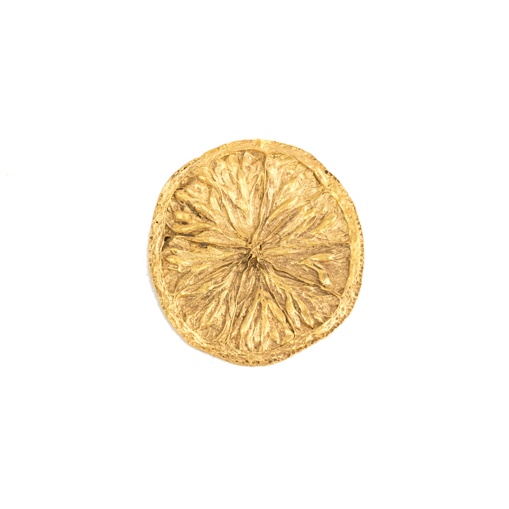Large Lemon Slice Brooch, 22kt Gold Vermeil