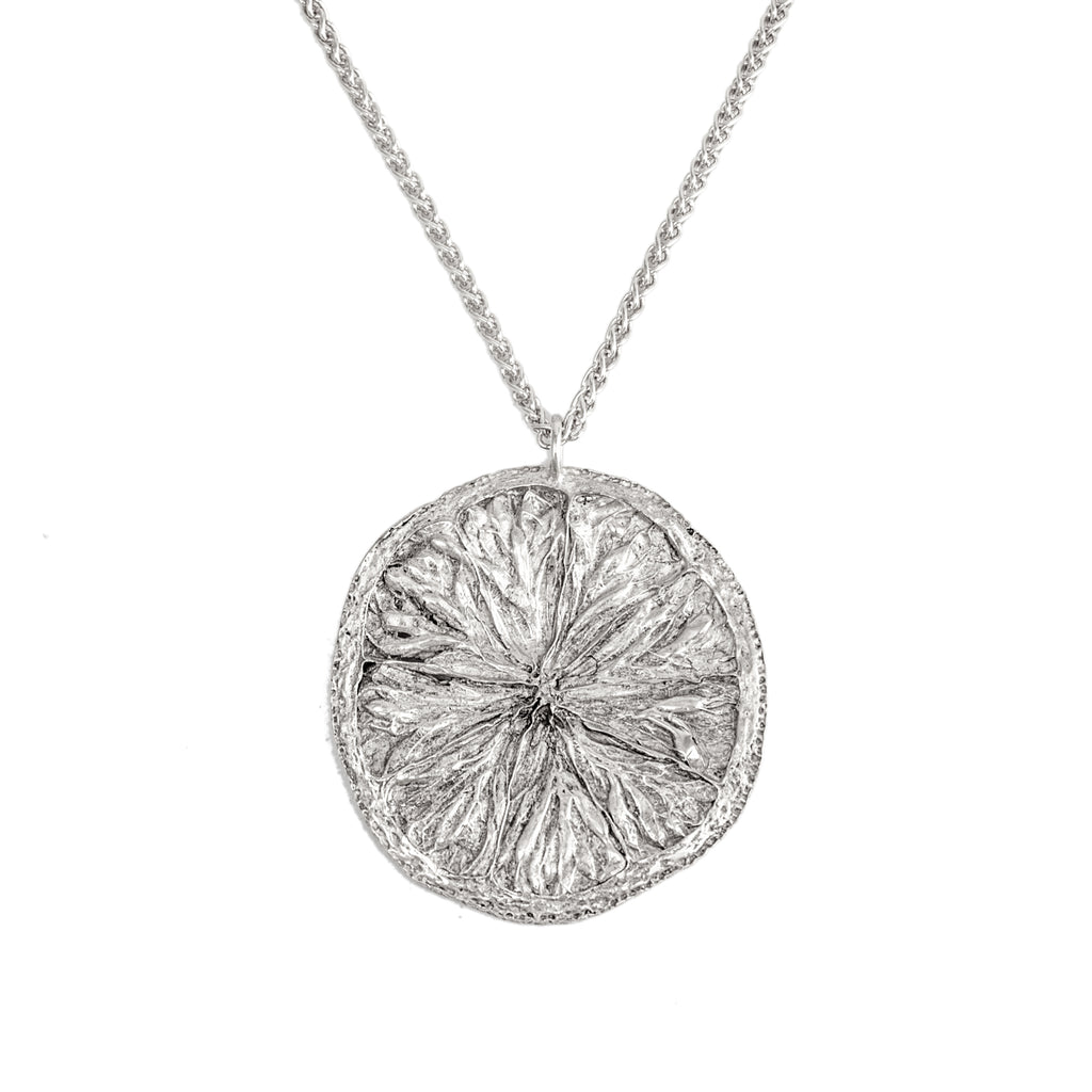 Large Lemon Slice Pendant (Sterling Silver)